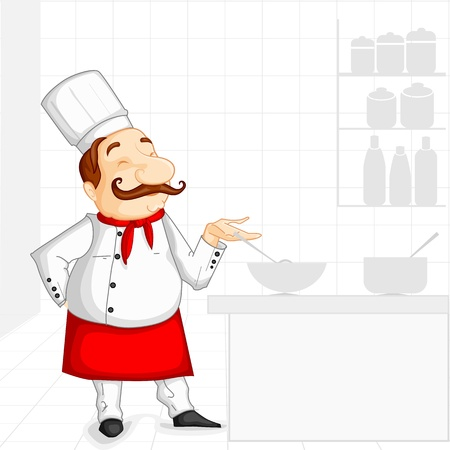 Chef cooking in Kitchen Stock Vector - 20288188