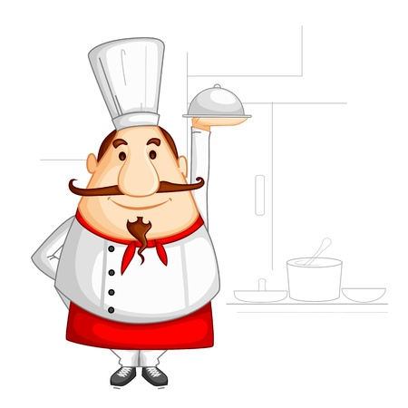 Chef holding Cloche Stock Vector - 20288197