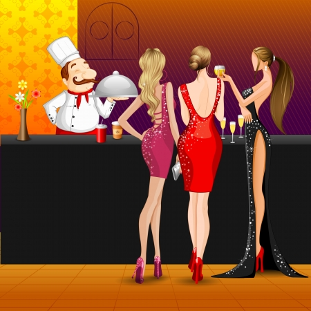 nightclub bar: Women in party with Cook Illustration