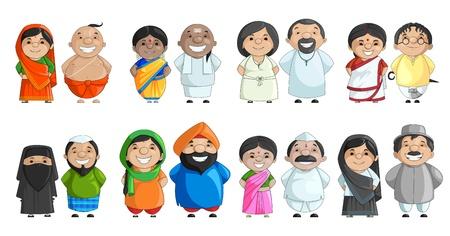 familia unida: Pares indios de diferente cultura Vectores