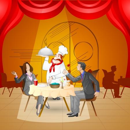 浪漫: 情侶在餐廳 向量圖像