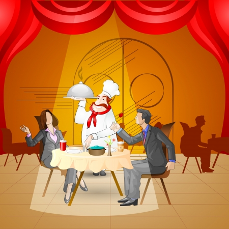 Couple in Restaurant Vector
