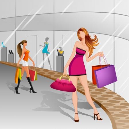 retail display: Women doing Shopping Illustration