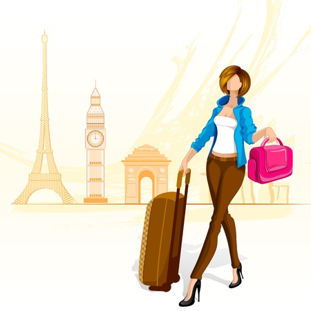 Woman Travelling around World Vector