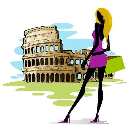 Woman near Colosseum in Rome