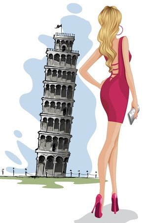 Woman near Leaning Tower of Pisa Vector