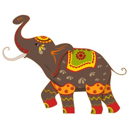 Versierde olifant Stock Illustratie