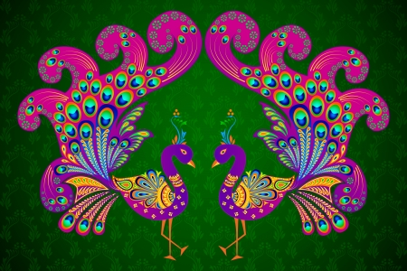 peacock: Colorful Decorated Peacock Illustration