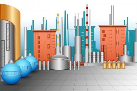 refinaria: Planta Industrial Ilustração