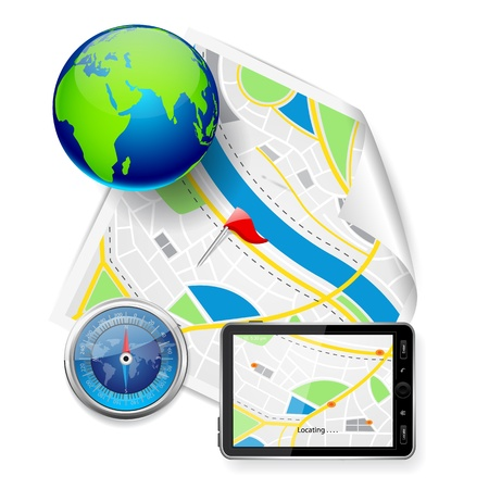gps device: Compass and GPS Device on Road Map