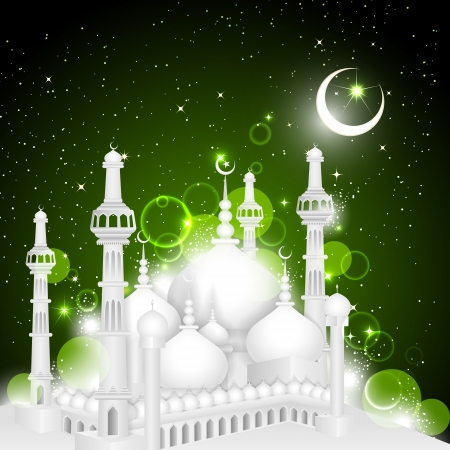 arabic: Eid Mubarak background with Islamic Mosque