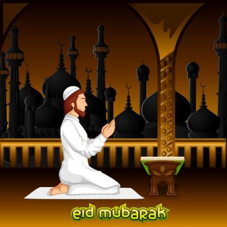 muslim prayer: Muslim offering namaaz for Eid