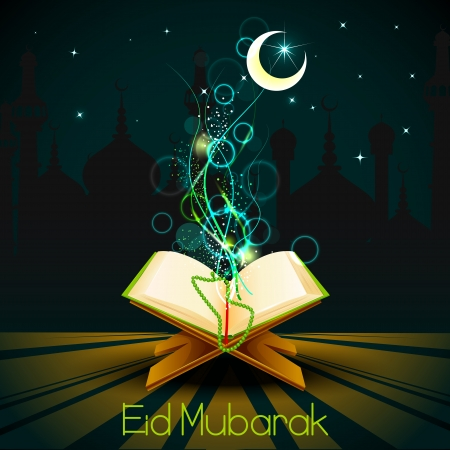 ul: Quran on Eid Mubarak background