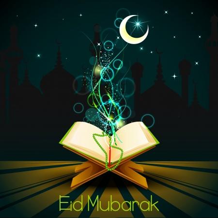 quran: Quran on Eid Mubarak background