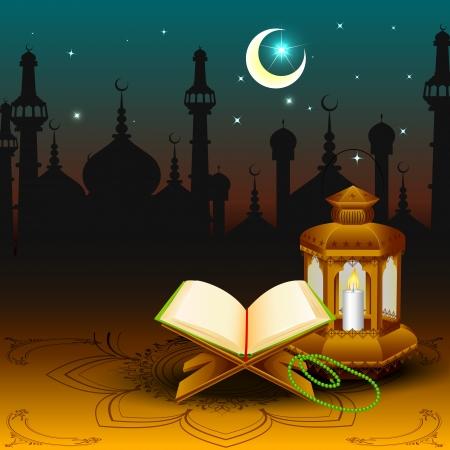 ramzan: Quran with lamp on Eid Mubarak  background Stock Photo