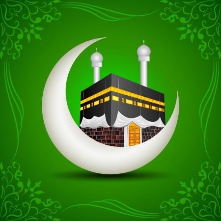 hajj: Eid Mubarak  Blessing fo Eid  with Kaaba on moon