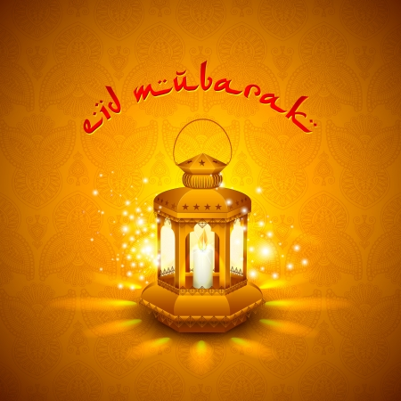 Iilluminated lamp for Eid Mubarak background photo
