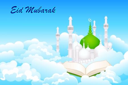 iftar: Quran on Eid Mubarak background