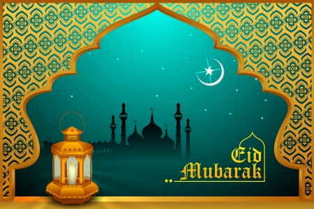 Glowing lamp on Eid Mubarak background photo