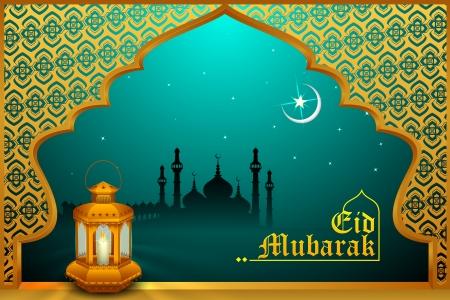 faroles: Lámpara que brilla intensamente en Eid Mubarak fondo