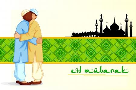 ramzan: People hugging and wishing Eid Mubarak Stock Photo