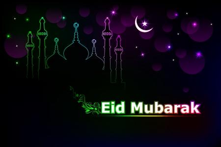 eid mubarak: Eid Mubarak background with Islamic Mosque