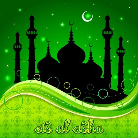 ramzan: Eid Mubarak background with Islamic Mosque