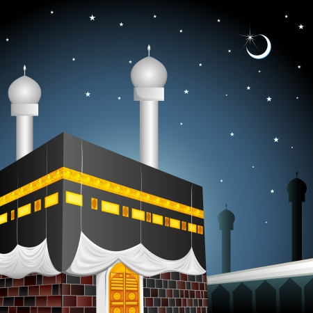 hajj: Eid Mubarak  Blessing fo Eid  with Kaaba