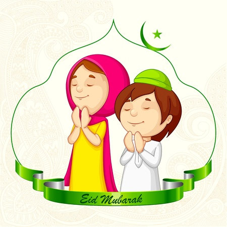 illustration of muslim offering namaaz for Eid Vector