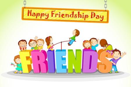友情日を祝う子供のベクトル イラスト