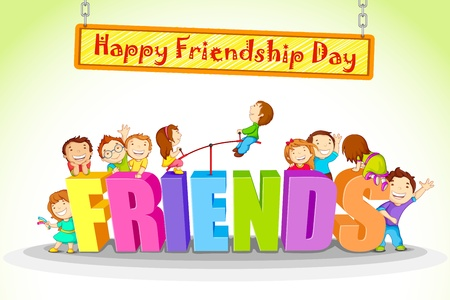 love and friendship: vector illustration of kids celebrating Friendship Day