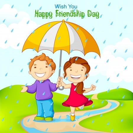 niña: ilustración vectorial de amigos celebrando el Día de la Amistad en la lluvia