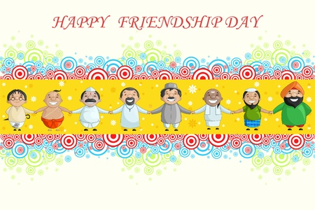 vector illustration of multiracial wishing Happy Friendship Day