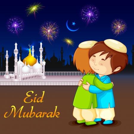 vector illustratie van mensen knuffelen en wensen Eid Mubarak