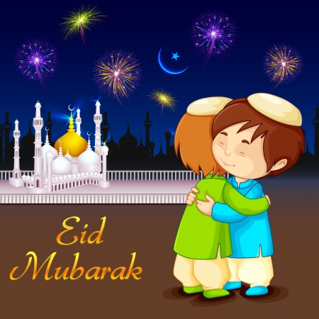 mosque: vector illustration of people hugging and wishing Eid Mubarak Illustration