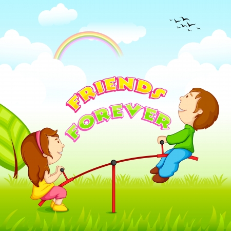 playtime: vector illustration of kids riding on seesaw for Friendship Day
