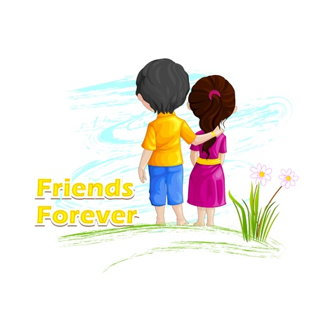 friendship day: vector illustration of friends forever for Happy Friendship Day Stock Photo