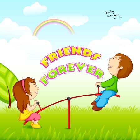 friendship day: vector illustration of kids riding on seesaw for Friendship Day