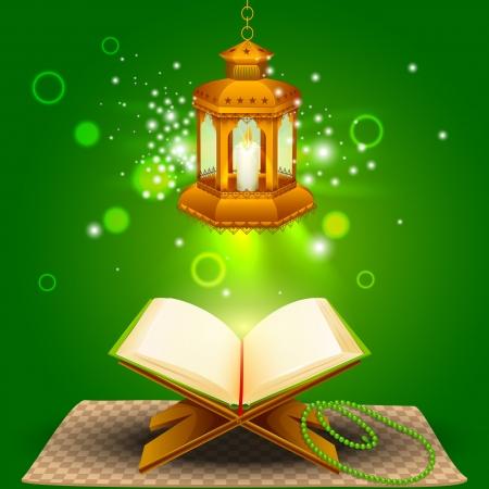 illustratie van heilige boek van de koran met lamp op Eid Mubarak Stock Illustratie