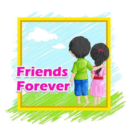 vector illustration of friends forever for Happy Friendship Day Stock Illustration - 21188898