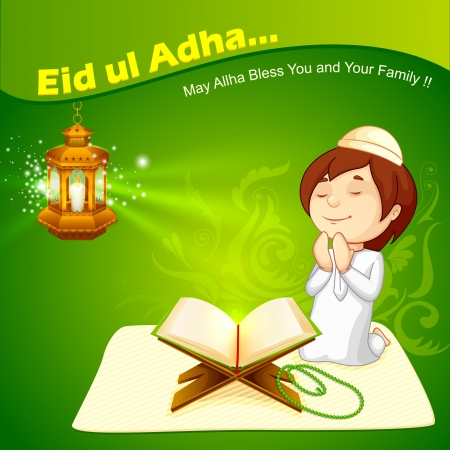 vector illustration of muslim offering namaaz for Eid Stock Photo
