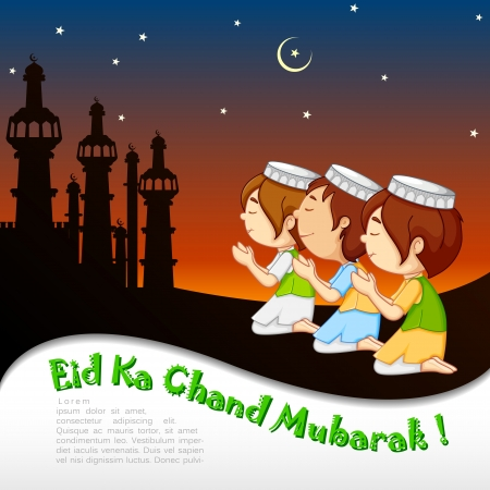 child praying: vector illustration of muslim offering namaaz for Eid Stock Photo