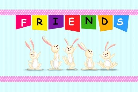 vector illustration of rabbit on Happy Friendship Day illustration