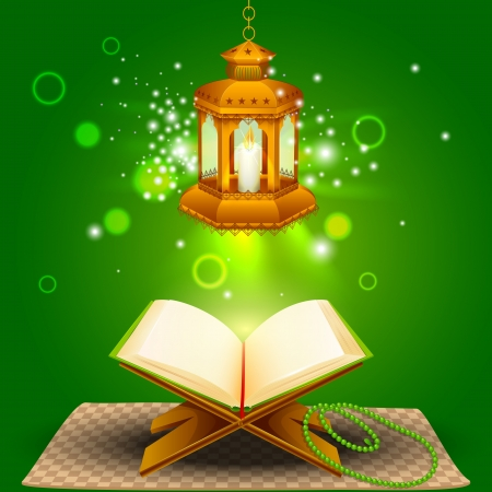 illustration of holy book of Quran with lamp on Eid Mubarak Stock Photo