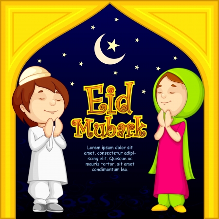 vector illustration of muslim offering namaaz for Eid Stock Photo