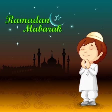 niño orando: ilustración vectorial de musulmanes namaaz oferta de Eid