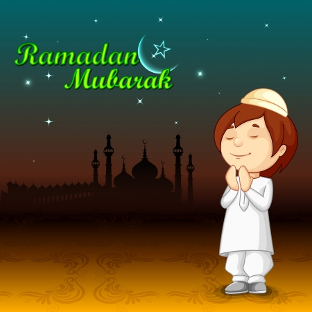 child praying: vector illustration of muslim offering namaaz for Eid Illustration