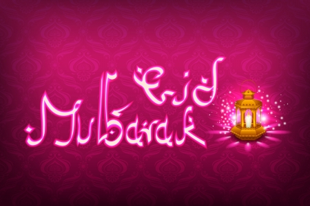 vector illustration of illuminated lamp for Eid Mubarak Vector