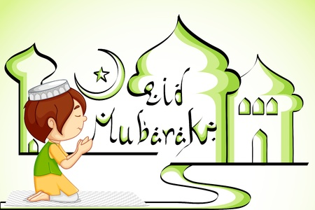 muslim prayer: vector illustration of muslim offering namaaz for Eid Stock Photo