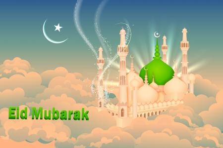ramzan: ilustraci�n vectorial de Eid Mubarak fondo con la mezquita